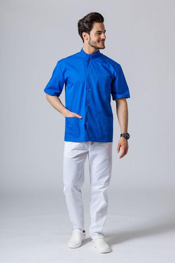 bluzy-medyczne-meskie Pánská zdravotnická košile/halena se stojatým límečkem královsky modrá