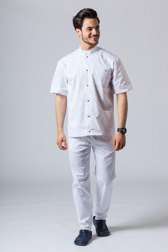 bluzy-medyczne-meskie Pánská zdravotnická košile/halena se stojatým límečkem bílá