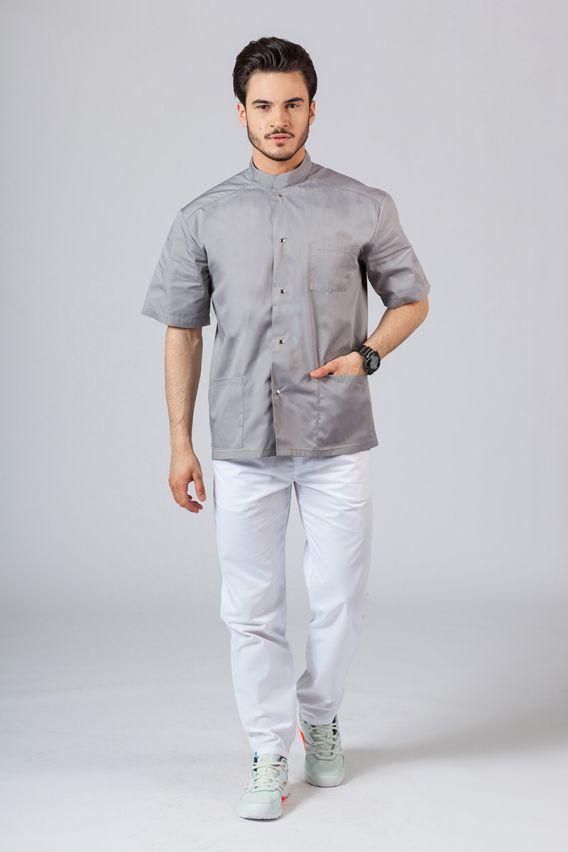 bluzy-medyczne-meskie Pánská zdravotnická košile/halena se stojatým límečkem šedá