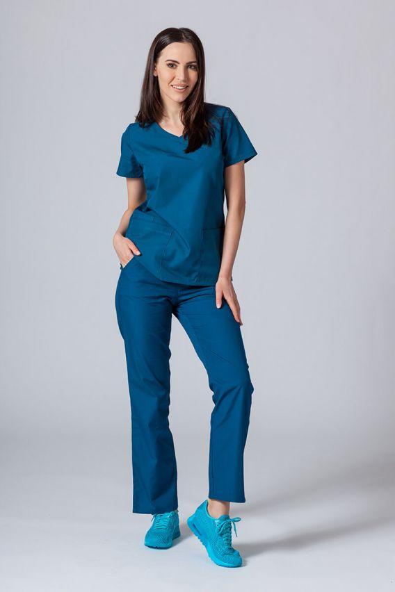 bluzy-medyczne-damskie Lékařská halena Maevn Red Panda Asymetric karibsky modrá