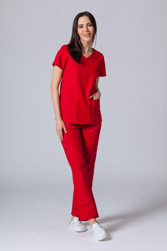 bluzy-medyczne-damskie Lékařská halena Maevn Red Panda Asymetric červená