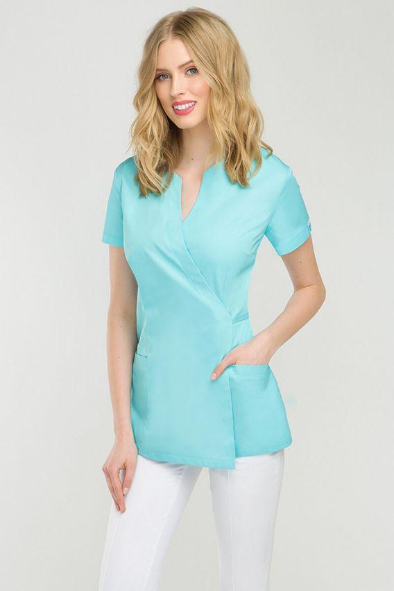 bluzy-medyczne-damskie Zdravotnická / kosmetická zástěra na zapínání Vena Spa 4 aqua