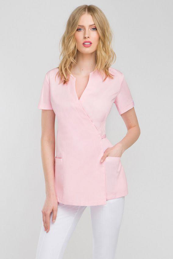 bluzy-2 Zdravotnická / kosmetická zástěra na zapínání Vena Spa 4 lososová