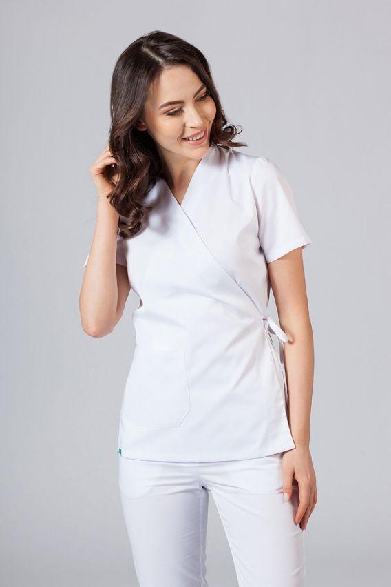 bluzy-medyczne-damskie Zástěra/dámská halena s vázáním Sunrise Uniforms bílá