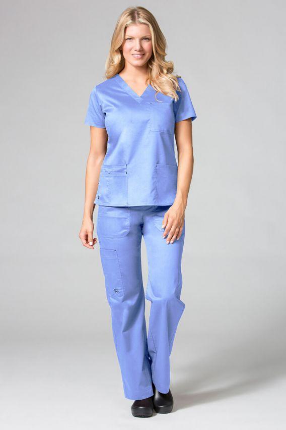 bluzy-medyczne-damskie Lékařská halena Maevn Blossom (elastic) klasicky modrá