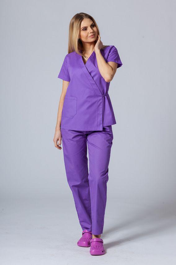 bluzy-medyczne-damskie Zástěra/dámská halena s vázáním Sunrise Uniforms fialová
