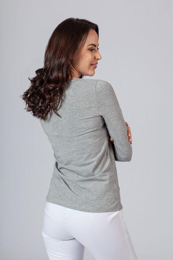 koszulki-medyczne-damskie Dámské tričko s dlouhým rukávem šedě melanže
