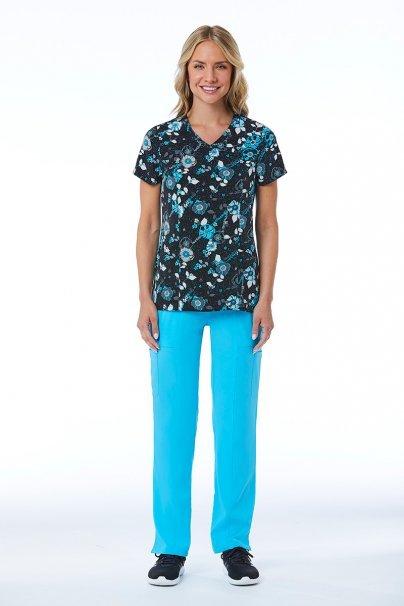 bluzy-we-wzory Lékařská halena Maevn Prints modrá kytice