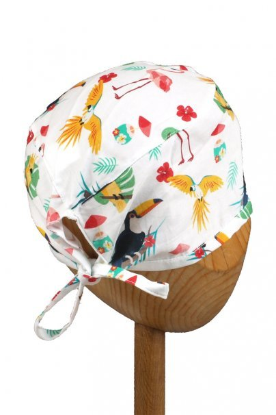 czepki-damskie Zdravotnická čepice Sunrise Uniforms Style Unisex plameňáci, papoušci a tukany