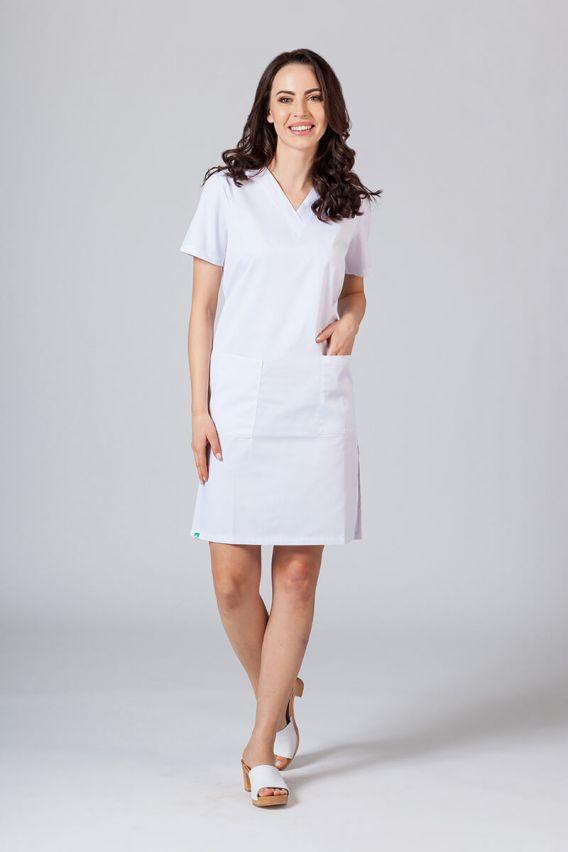 saty-1 Lékařské Jednoduché šaty Sunrise Uniforms bílé