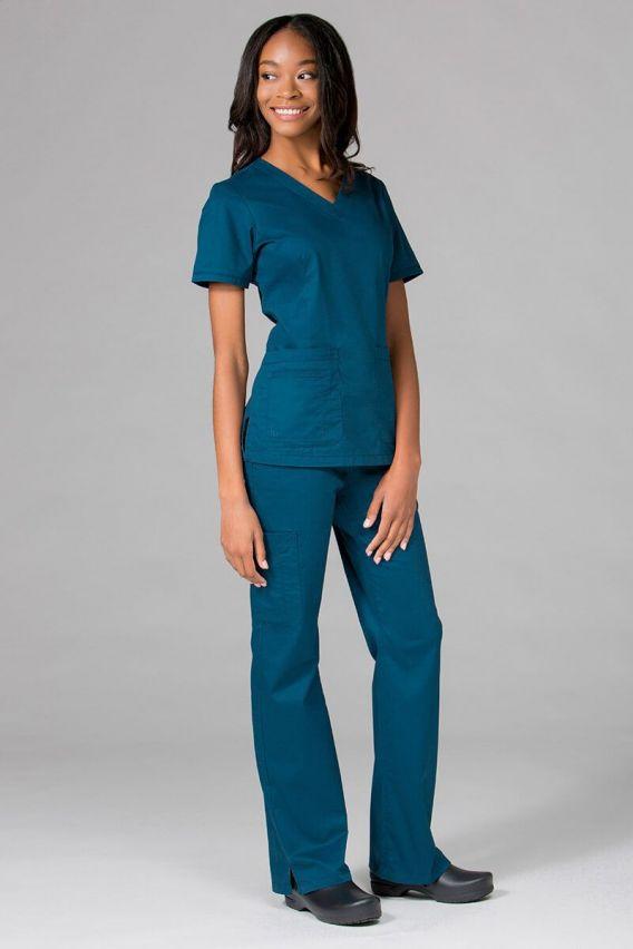 bluzy-medyczne-damskie Lékařská halena Maevn Blossom (elastic) karibsky modrá