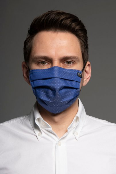 ochranne-rousky Ochranná maska Classic, 2vrstvá s kapsou na filtr (100% bavlna), unisex, tmavě modrá + vzor