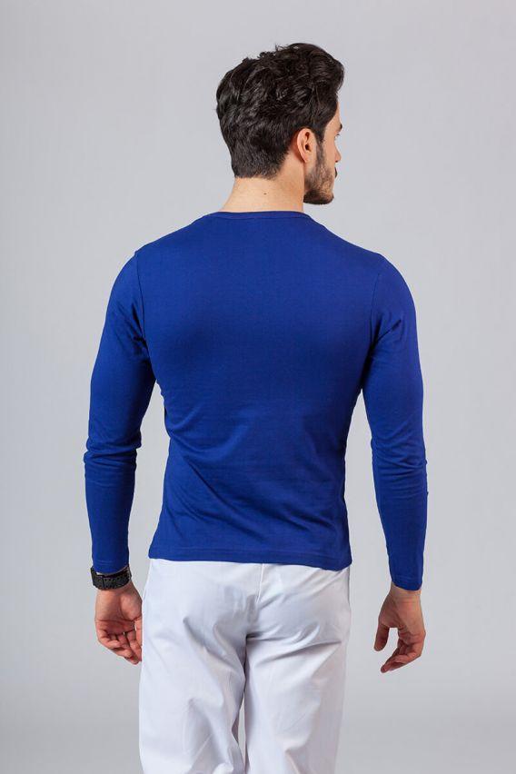 koszulki-medyczne-meskie Pánské tričko s dlouhým rukávem tmavě modré