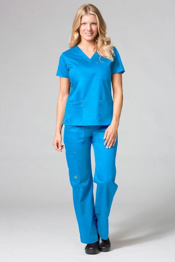 bluzy-medyczne-damskie Lékařská halena Maevn Blossom (elastic) modrá