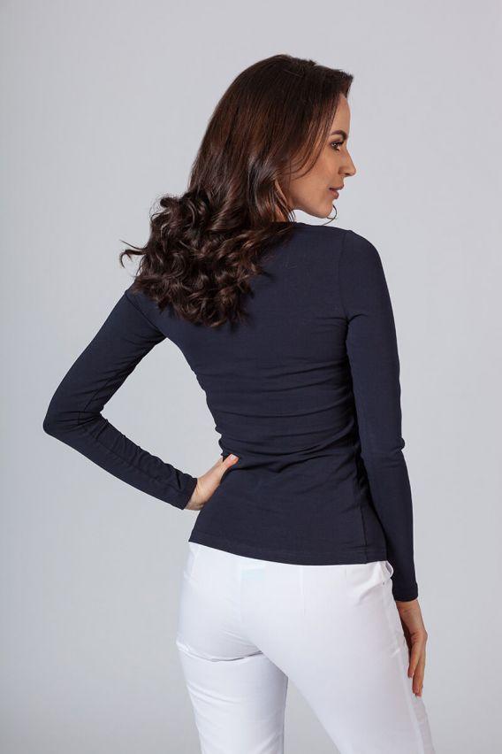 koszulki-medyczne-damskie Dámské tričko s dlouhým rukávem námořnická modř