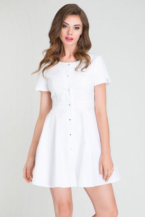 sukienki Zdravotnická / kosmetická zástěra s volánem Vena bílé