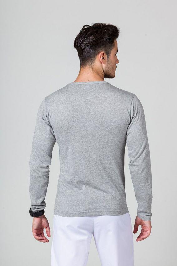 koszulki-medyczne-meskie Pánské tričko s dlouhým rukávem tmavě šedý melír
