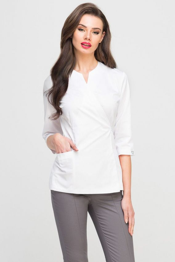 bluzy-medyczne-damskie Zdravotnická / kosmetická zástěra na zapínání Vena Spa 4 rukáv 3/4 bílá