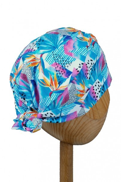 czepki-damskie Lékařská zavinovací čepice Sunrise Uniforms Style Unisex květy strelície
