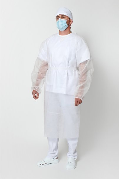 jednorazowe Ochranný plášť z vlizelínu 30g / m2, bílý, univerzální velikost