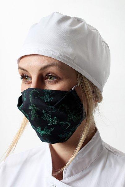 ochranne-rousky Ochranná rouška pro opakované použití se stříbrnými ionty, 2 vrstvá, 100% bavlna, vzor: zelené ještěrky
