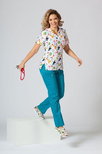 vzorovane-haleny Barevná lékařská halena Sunrise Uniforms pro ženy plameňáci, papoušci a tukani