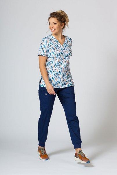 vzorovane-haleny Barevná lékařská halena Sunrise Uniforms pro ženy barevné pírka