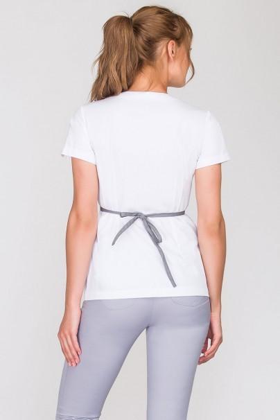 bluzy-2 Lékařská zástěra vázaná Vena Kate bílá se šedým lemováním