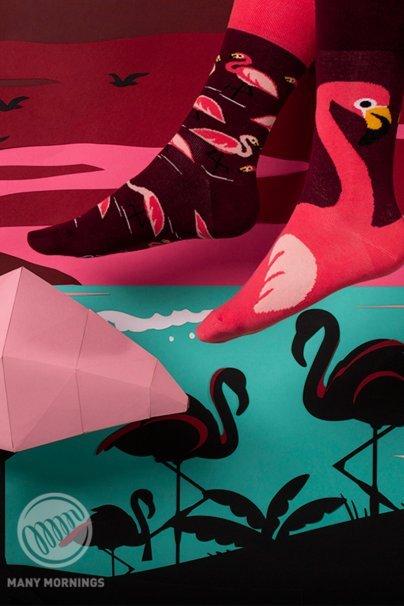 skarpetki Barevné ponožky Pink Flamingo - Many Mornings