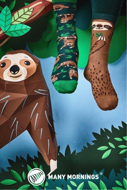 skarpetki Barevné ponožky Sloth Life - Many Mornings