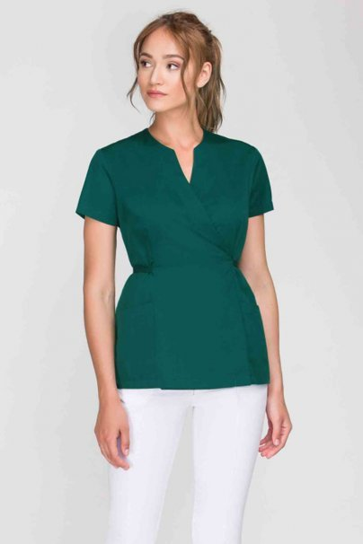 bluzy-2 Zdravotnická / kosmetická zástěra na zapínání Vena Spa 4 tmavě zelená