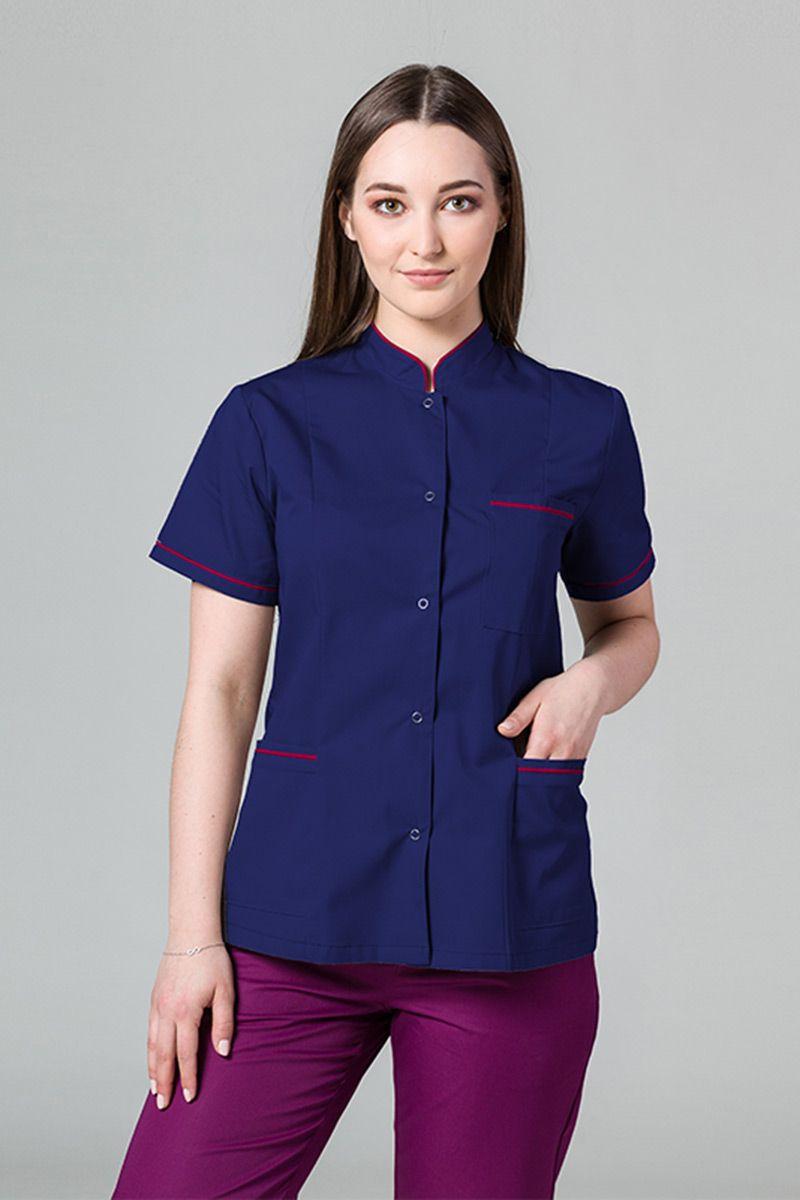 Lékařské sako 01 Sunrise Uniforms námořnická modř s malinovým lemem