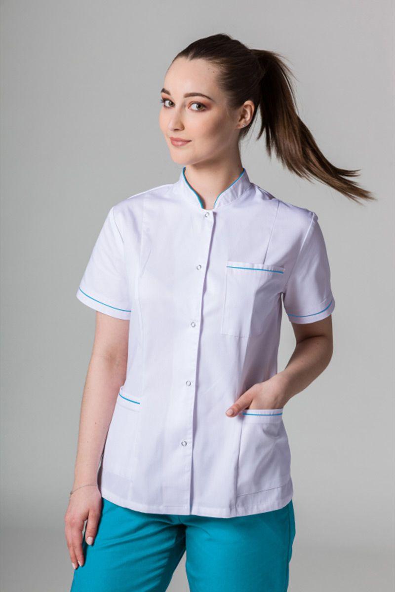 Lékařské sako 01 Sunrise Uniforms bílé s tyrkysovým lemem