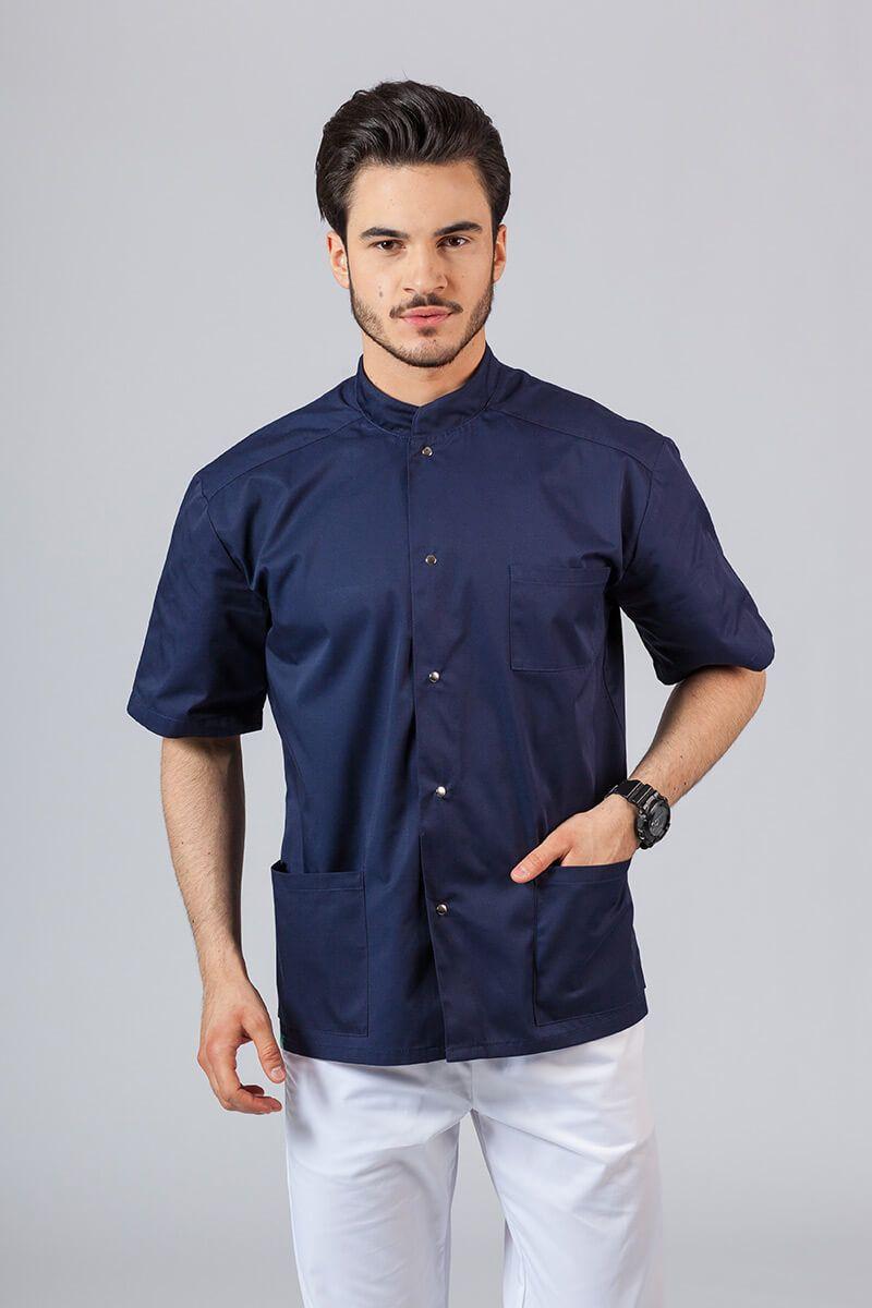 Pánská zdravotnická košile/halena se stojatým límečkem námořnická modř