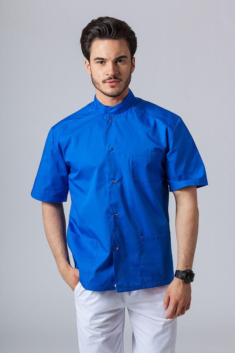 Pánská zdravotnická košile/halena se stojatým límečkem královsky modrá