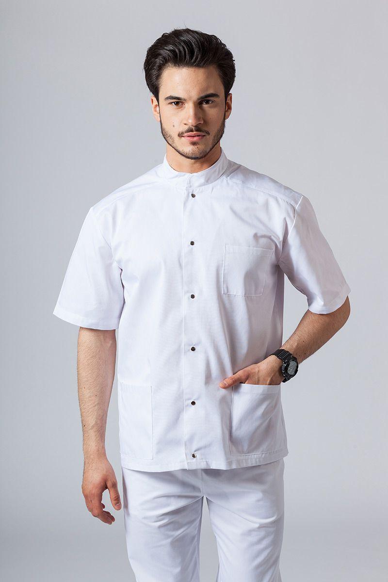Pánská zdravotnická košile/halena se stojatým límečkem bílá