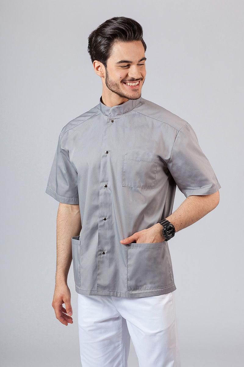 Pánská zdravotnická košile/halena se stojatým límečkem šedá