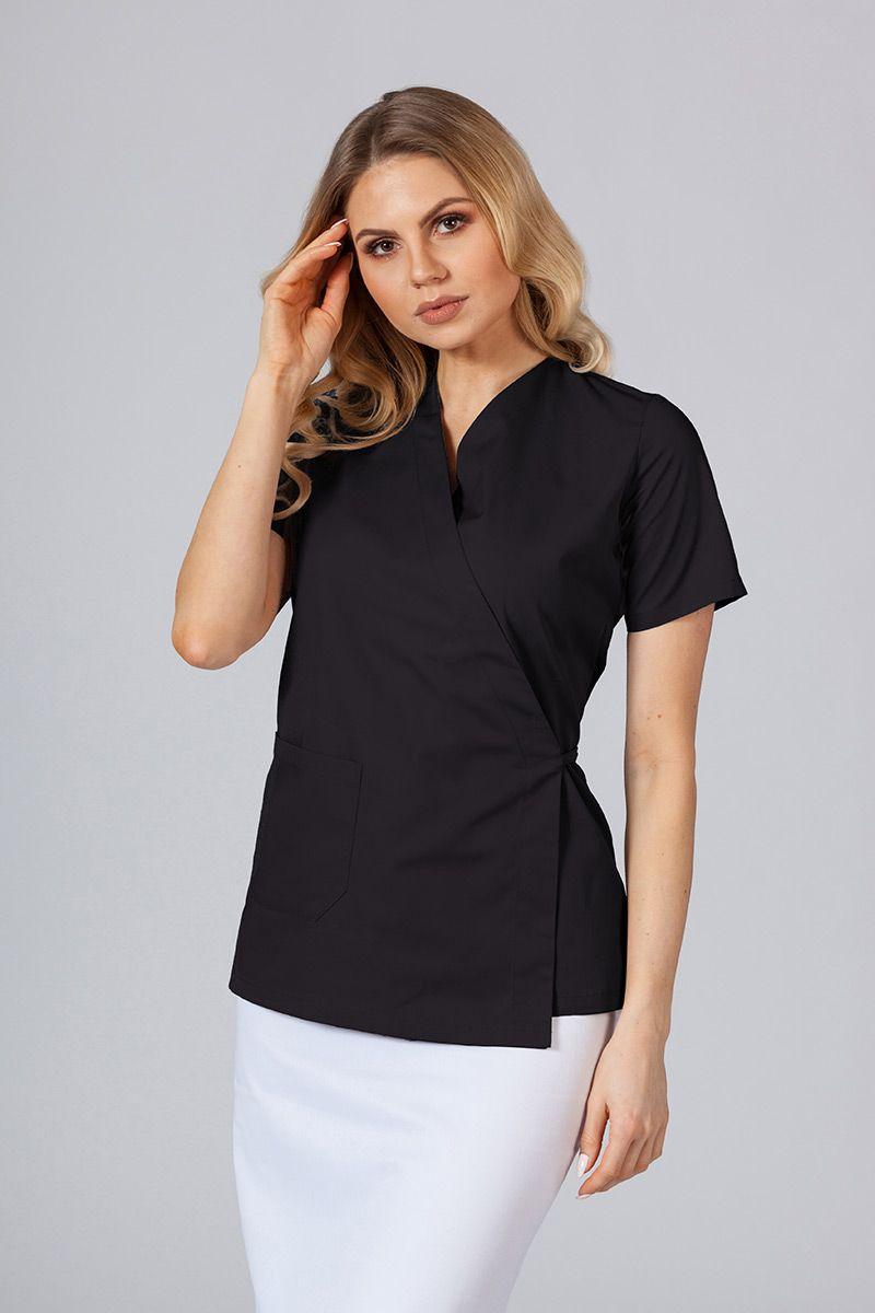 Zástěra/dámská halena s vázáním Sunrise Uniforms černá
