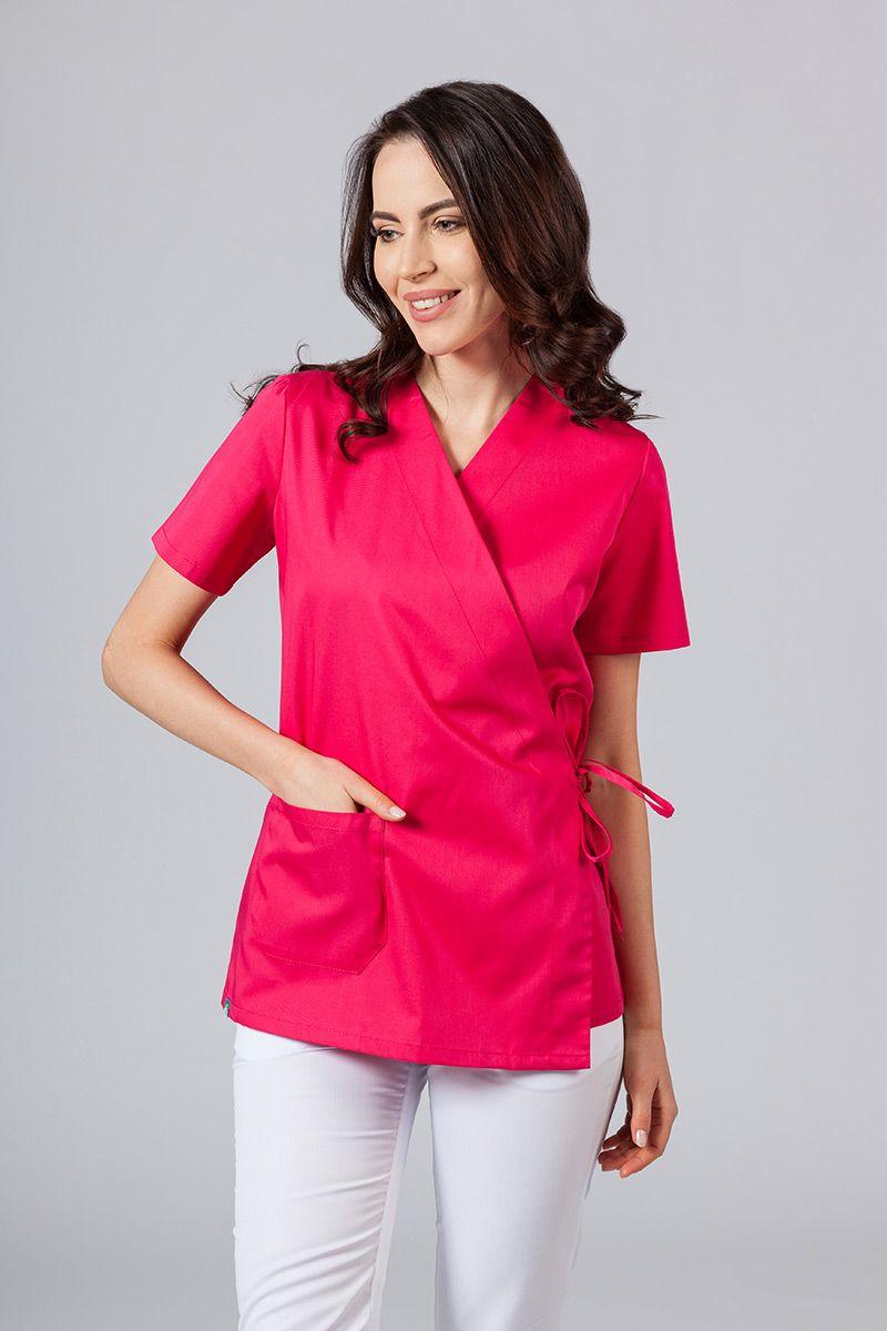 Zástěra/dámská halena s vázáním Sunrise Uniforms malinová