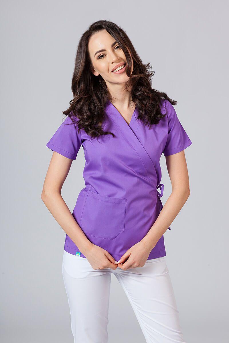 Zástěra/dámská halena s vázáním Sunrise Uniforms fialová