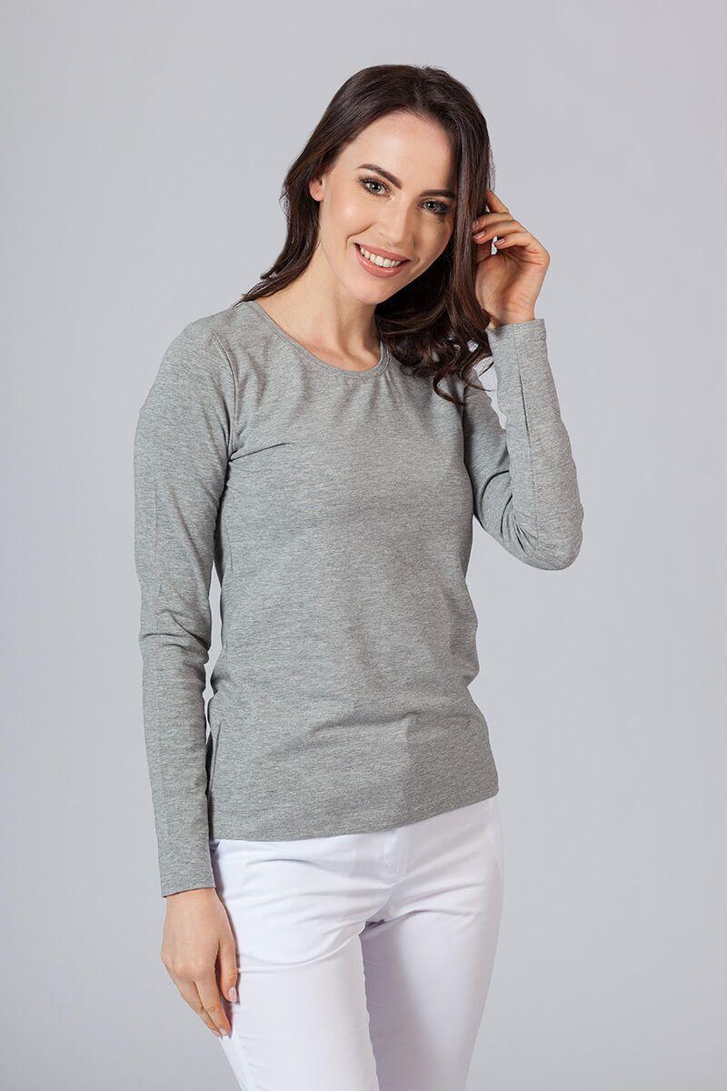 Dámské tričko s dlouhým rukávem šedě melanže