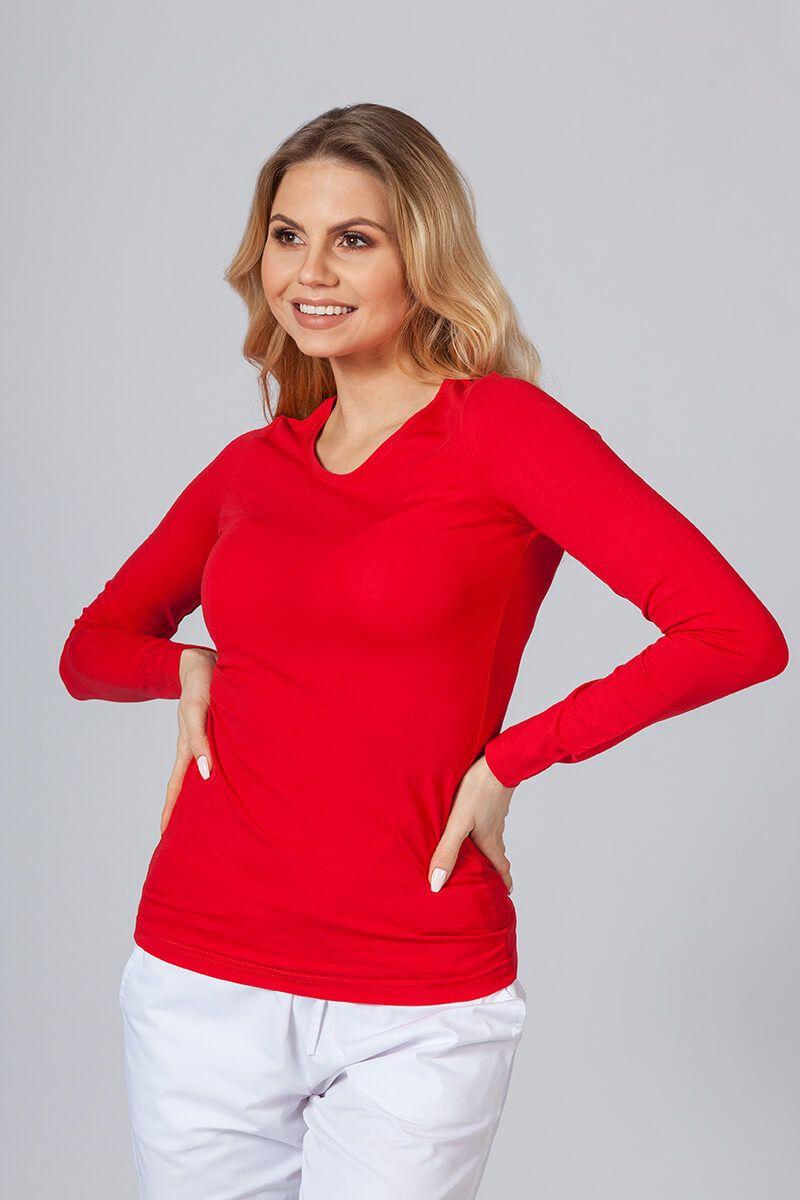 Dámské tričko s dlouhým rukávem červeně