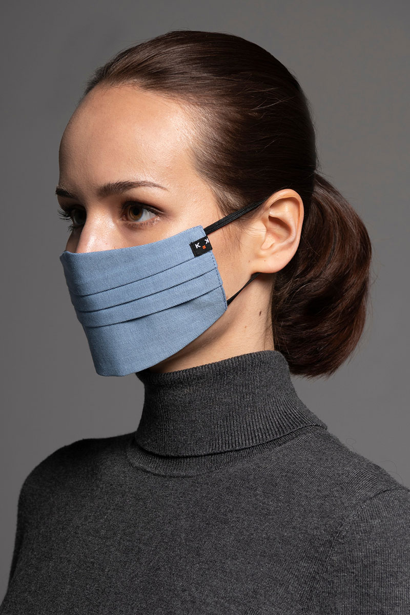 Ochranná maska, dvouvrstvá (100% bavlna), unisex, modrá