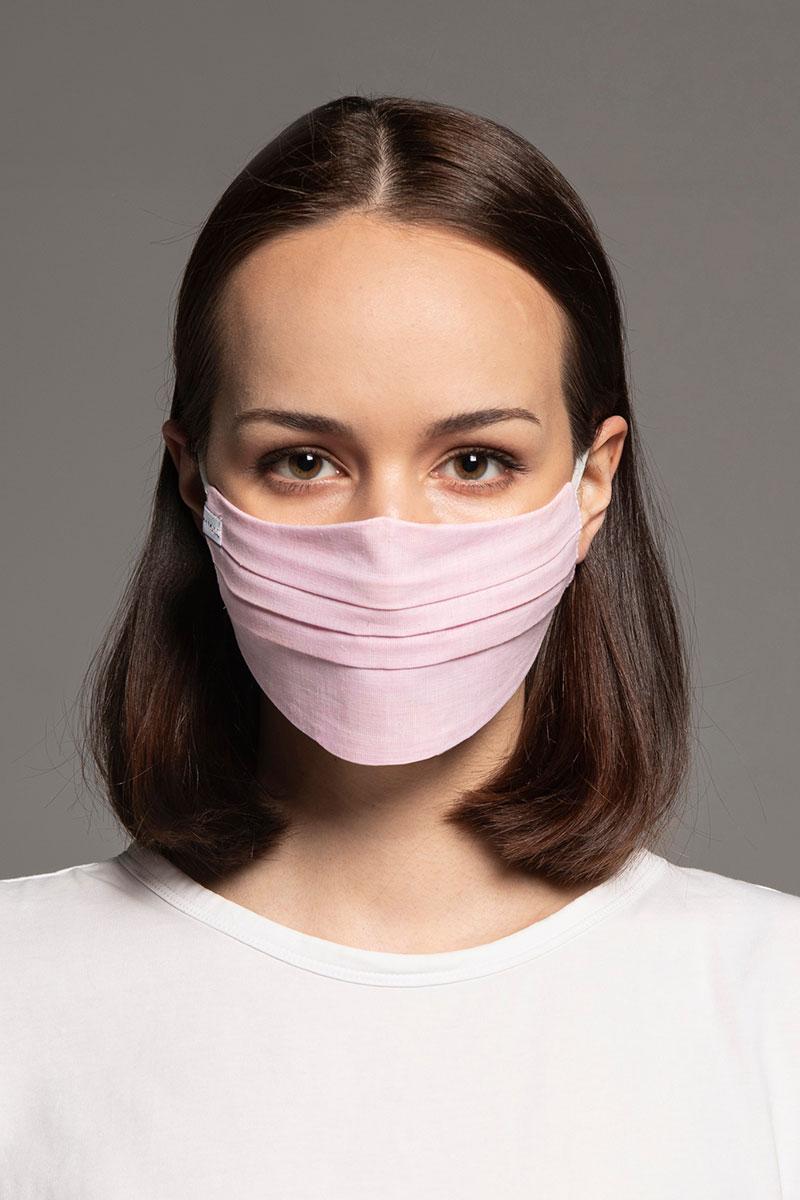 Ochranná maska, 2vrstvá (70% bavlna, 30% len), unisex, světle růžová
