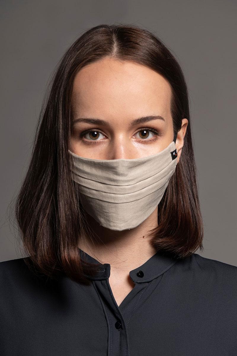 Ochranná maska, dvouvrstvá (100% len), unisex, béžová