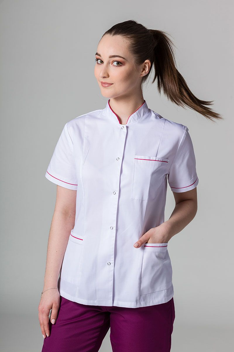 Lékařské sako 01 Sunrise Uniforms bilé s malinovým lemem
