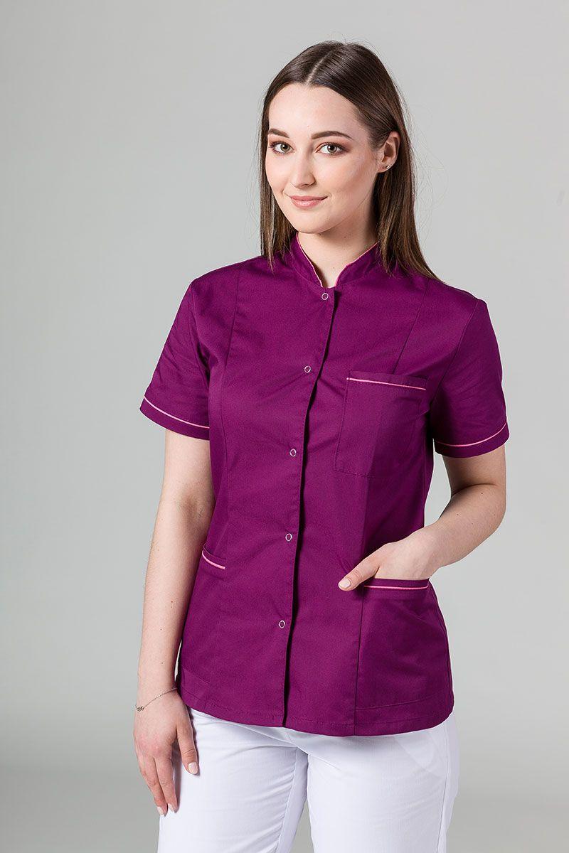 Lékařské sako 01 Sunrise Uniforms lilkové s malinovým lemem