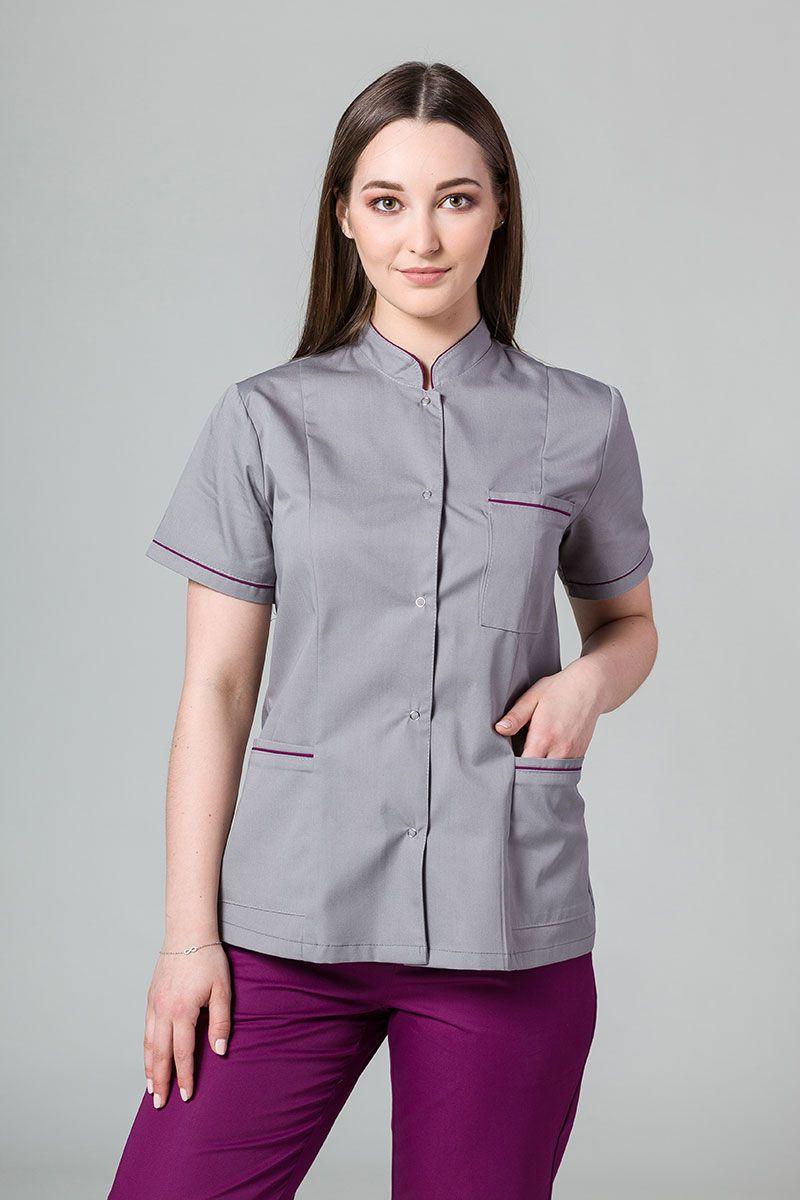 Lékařské sako 01 Sunrise Uniforms šedé s lilkovým lemem