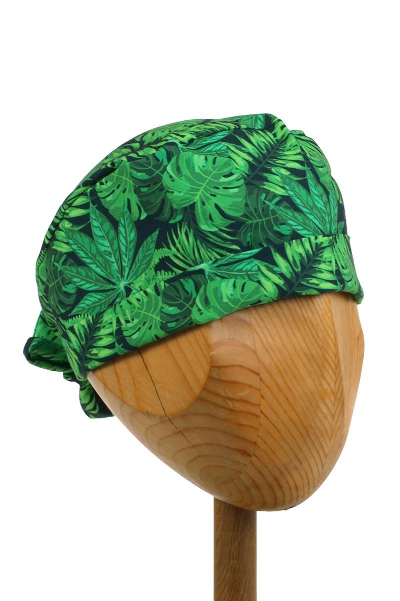 Zdravotnická zavinovací čepice Sunrise Uniforms Style Unisex zelené listy