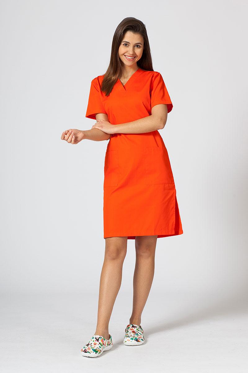 Lékařské jednoduché šaty Sunrise Uniforms oranžové